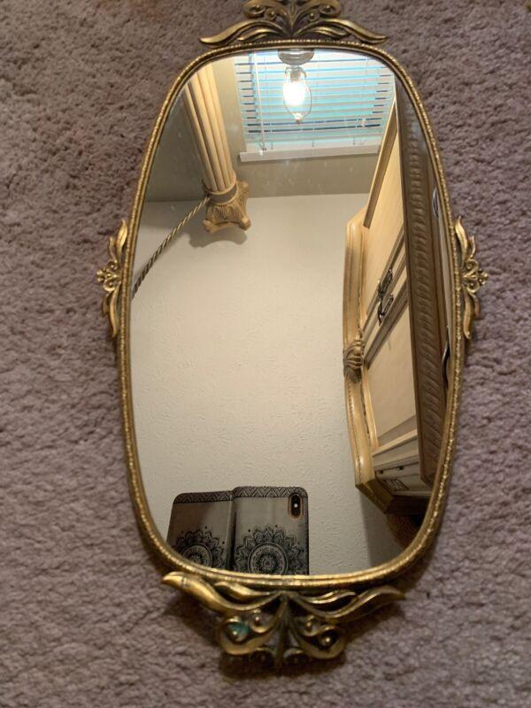 Vintage Ormolu MATSON oval vanity mirror tray.  Gold plated