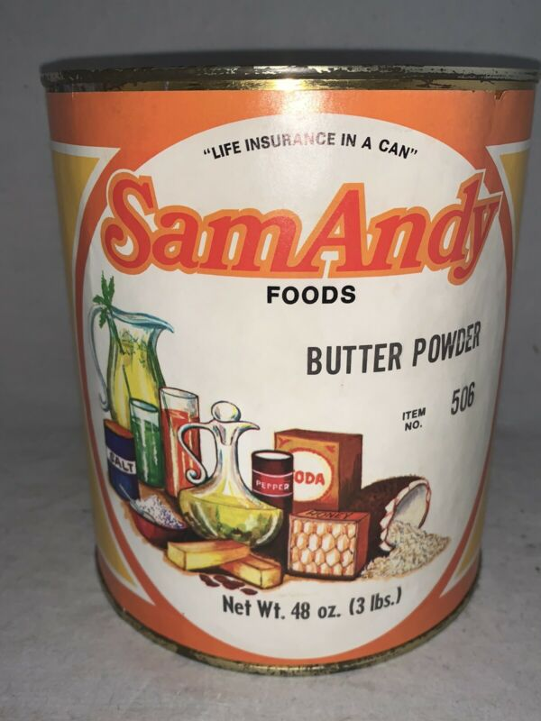VINTAGE NOS Unopened 1960s 3 lbs. SAM ANDY Foods BUTTER POWDER-- Colton CA