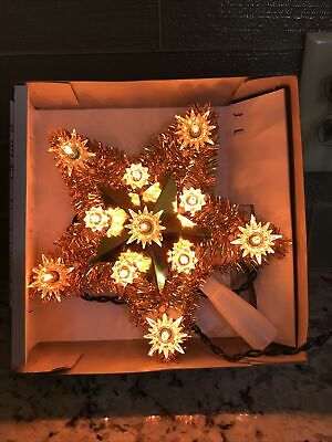 December Home 11 Light Tinsel Star Tree Topper Gold