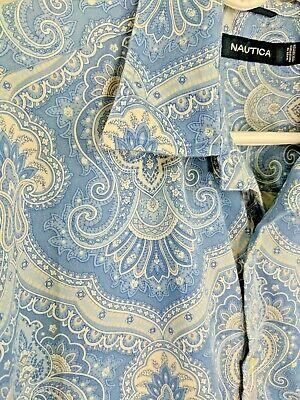 NAUTICA Men's Blue White Paisley Cotton Short Sleeve Button Front Shirt Size L