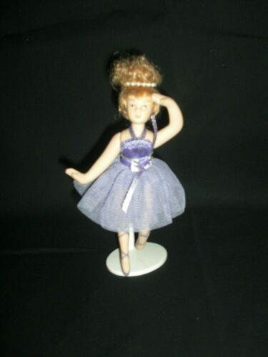 """Porcelain 6 1/2"""" Ballerina Doll Posable Dressed In Lavender Outfit W/Doll Stand"""