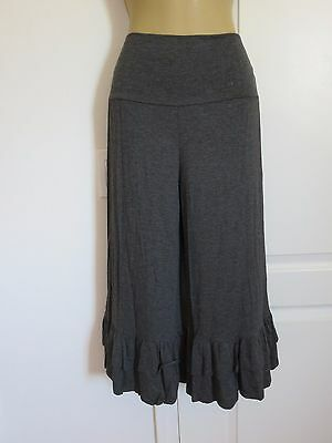 CHARCOAL RUFFLED BELL BOTTOM BABYDOLL DOLLY CAPRI WIDE LEG PANTS PLUS 1X 2X  - Plus Size Bell Bottoms