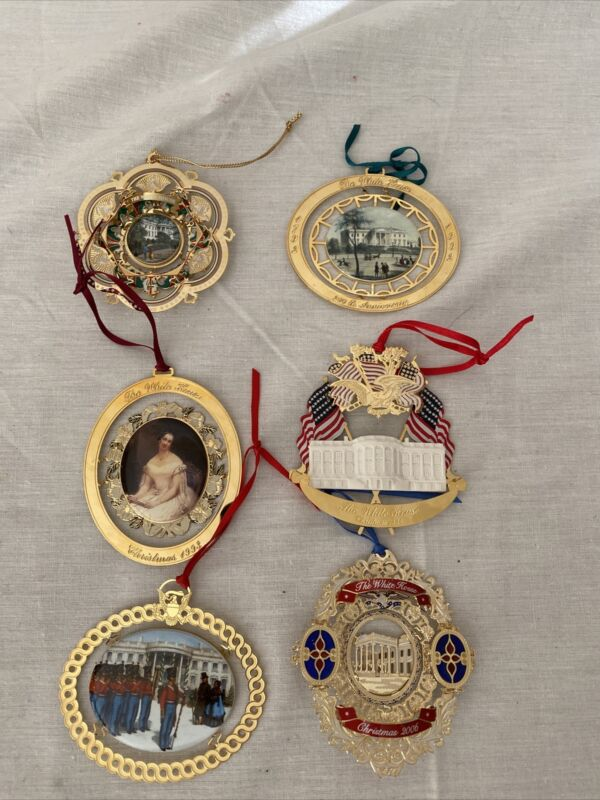 Lot Of 6 Vintge The WhiteHouse Annual Historical Association Christmas Ornament