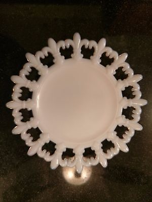 Gorgeous Rare Antique Milk Glass Decorative Plate