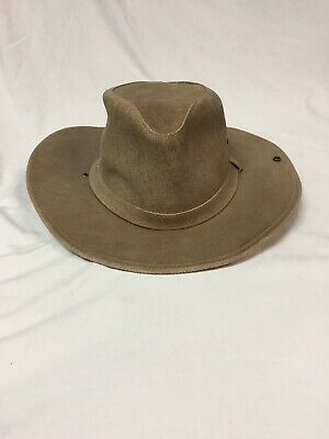 MINNETONKA THE AUSSIE HAT MENS XL LEATHER HAT - LIGHT BROWN / TAN OUTBACK HAT