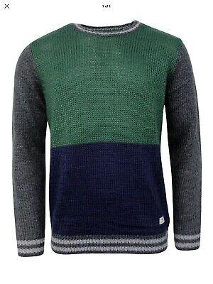 Vans Silva Men's Navy Green Grey Knitted Jumper Sweater Pullover Size XL