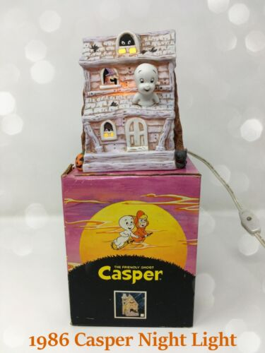 👻 1986 Casper the Friendly Ghost Porcelain Night Light w/ Box WORKS!  👻