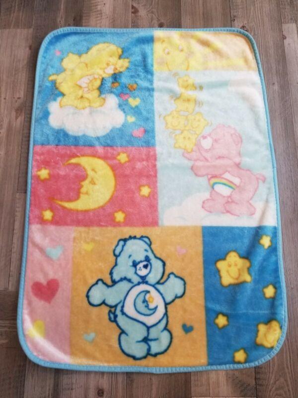 Vintage 31x44 CARE BEARS Rainbow Hearts Minky Plush baby Crib Blanket
