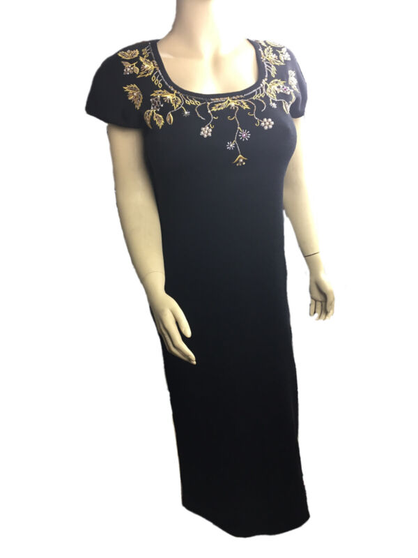 Vintage Carole Little Black Wool Dress with beaded front Size- M
