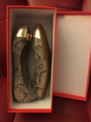 Coach Size 8M Roccia/Platinum Snakeskin Flats In Original Box