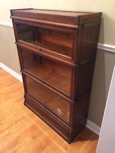 Antique Barrister Bookcase - 3 Shelves - Tiger Oak - Banded