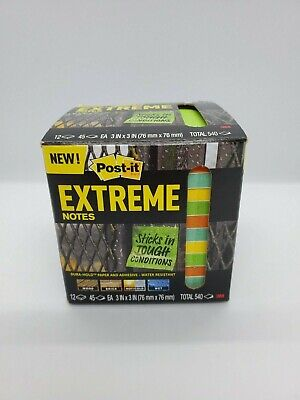 3m Post-it Extreme Notes 3x3 Orangegreenyellowmint 12 Pads Sticky