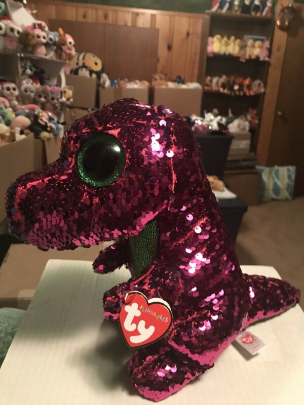"2c480df3af7 Ty FLIPPABLES  STOMPY -Pink Green Purple Sequined Dinosaur 10"" Beanie Boo"