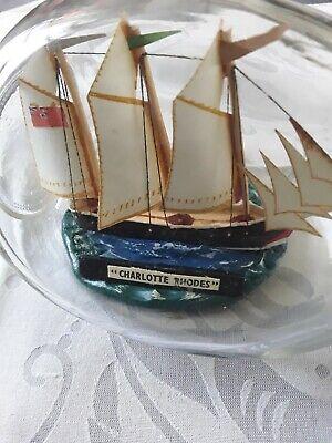 """Vintage Ship In Bottle Dimpled Whiskey Bottle """" Charlotte Rhodes"""" 6"""""""