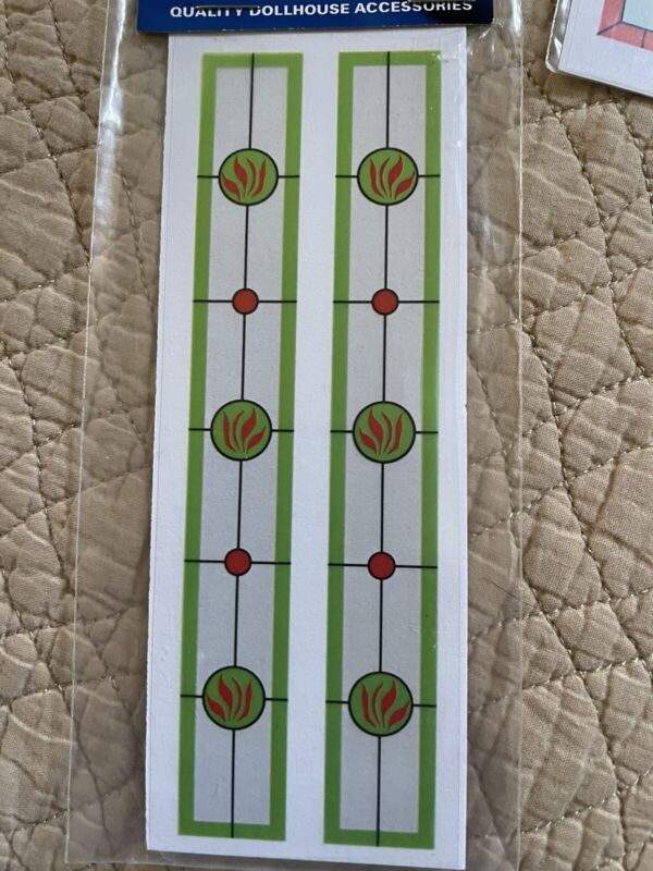 Dollhouse Miniature Stained Glass Door Sidelight Window Stickers
