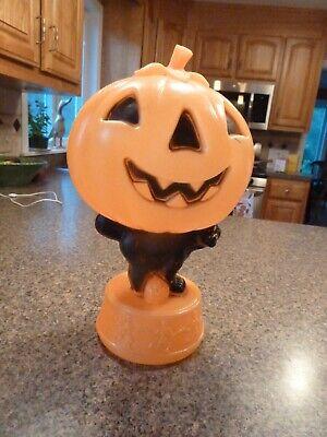 Vintage Pumpkin Black Cat Dancing Skeletons Blow Mold Light