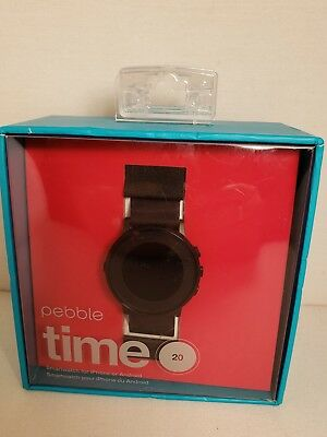 PEBBLE TIME ROUND 20MM SMARTWATCH FOR IPHONE OR ANDROID **NEW...