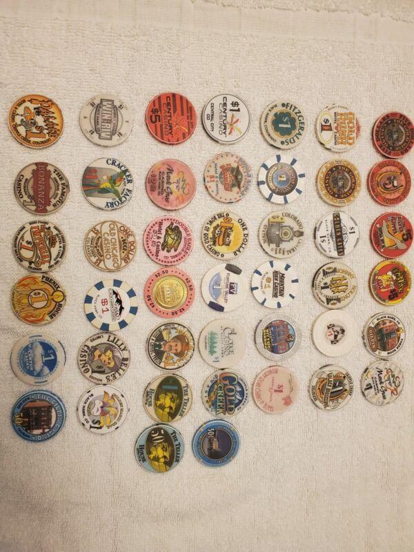 Large lot of 44 $1 & $5 Colorado Casino Poker Chips Colorado Rare Lot. FREE Ship