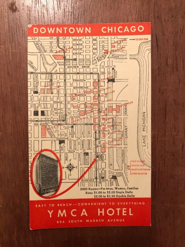 1930s Downtown Chicago Map Card YMCA Hotel Advertisement Card