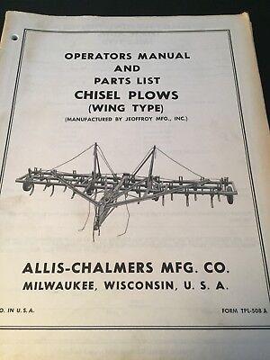 Original Allis-chalmers Chisel Plows Tpl-508a Operators Manual