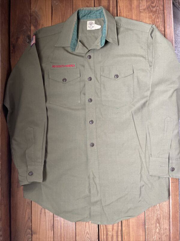 Vintage 70s Boy Scouts of America Green Twill Button Shirt Size XL