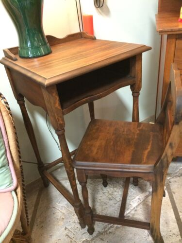 VINTAGE TELEPHONE STAND/TABLE W/SHELF & MATCHING CHAIR-STURDY