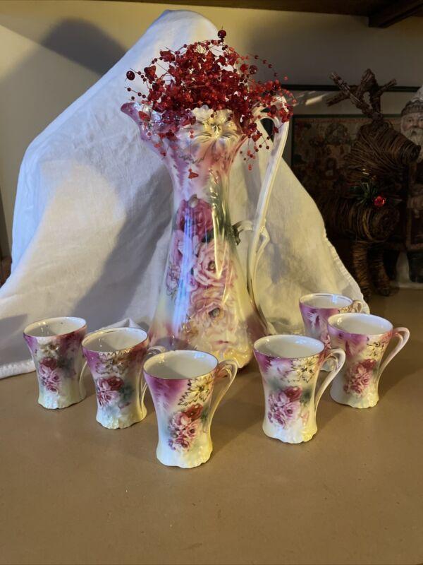 Antique RS Prussia Chocolate Set Pink Floral Tea Set