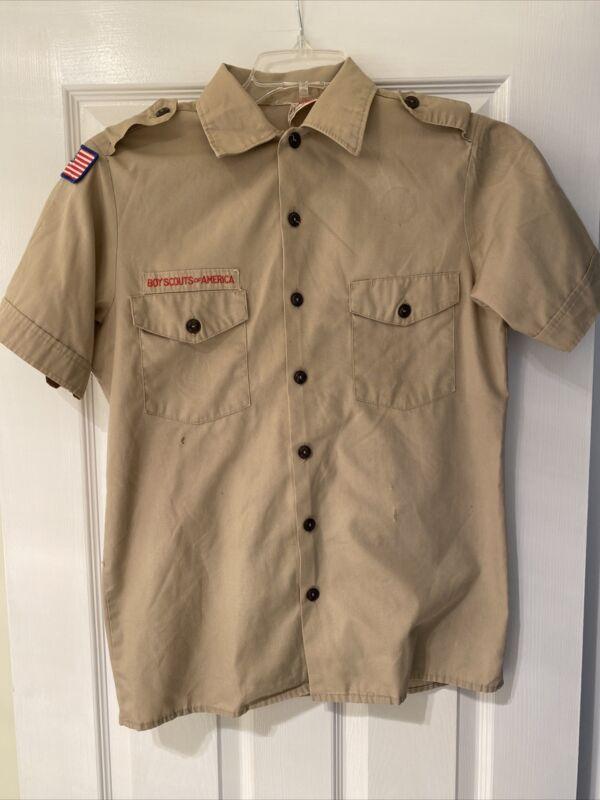 Boy Scout BSA UNIFORM SHIRT Mens Small Short Sleeve Tan I18