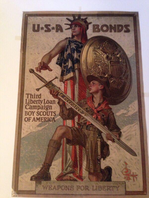 WW1 Orginal Liberty Loan Poster Weapons for Liberty Boy Scouts USA Bonds 102yrs