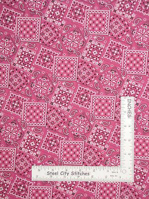 Cowboy Western Pink Bandanna Allover Cotton Fabric Blazin' Bandana By The -