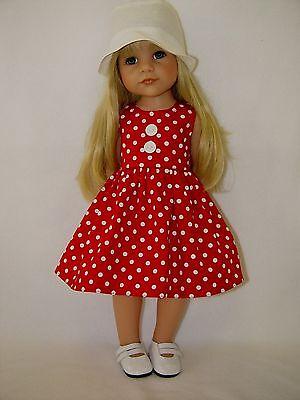 Für Götz Puppe Hannah Stehpuppe 46 - 50 cm Puppenkleidung Kleidung Kleid u. Hut