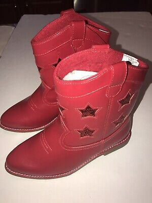 Gymboree Girls Red Stars 4th Of July Cowboy Boots, Shoes, Size 1, NWT