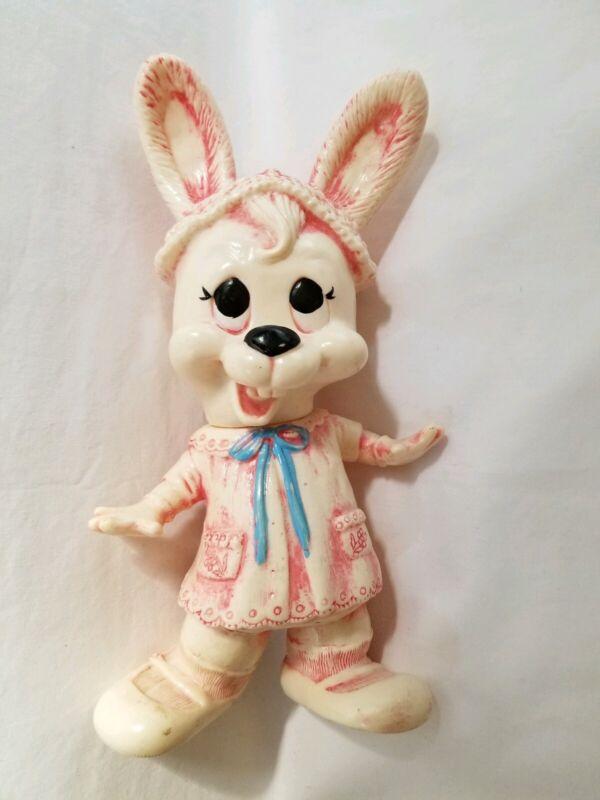Vintage Hard Rubber Anthropomorphic Rabbit Toy Creative Mfg. 1977 Bunny Rabbit
