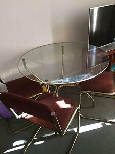 Glass top dining table with two chairs South Yarra Stonnington Area Preview