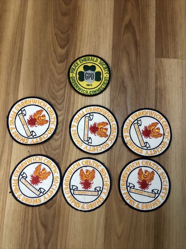 Greenwich Celtic Society Pipes And Drump Patches Plus 1 Police Patch