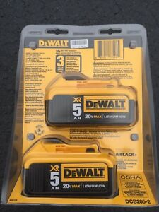 NEW DEWALT 20V MAX XR 5.0 AH BATTERY (2 pack)