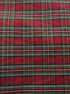 RED MULTICOLOR METALLIC PLAID TAFFETA FABRIC (60 in.) Sold By The Yard ()