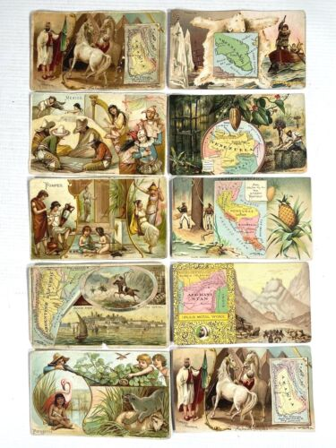 ARBUCKLE BROS. COFFEE CO. antique trading cards LOT OF 10 exotic countries COLOR