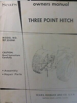 Sears 3-point Hitch Disc Harrow Lawn Garden Tractor Owner Parts 2 Manual S