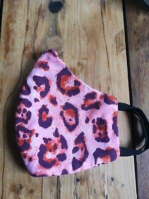 Mundschutz Baumwolle Leo Print rosa waschbar Handmade