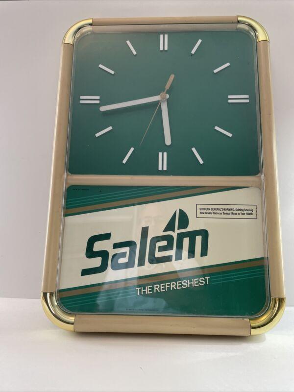 """Vintage Salem Cigarette Advertising Clock 20"""" X 14"""" RJ Reynolds 1969 Read Desc."""