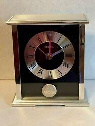 Bulova NCAA Logo Mantle Desk Glass Brushed Silver Chrome Clock