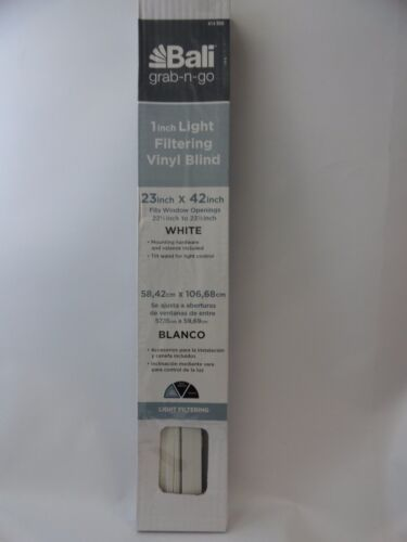 "New Bali 1"" Light Filtering Vinyl Blind White 23"" X 42""  Min"