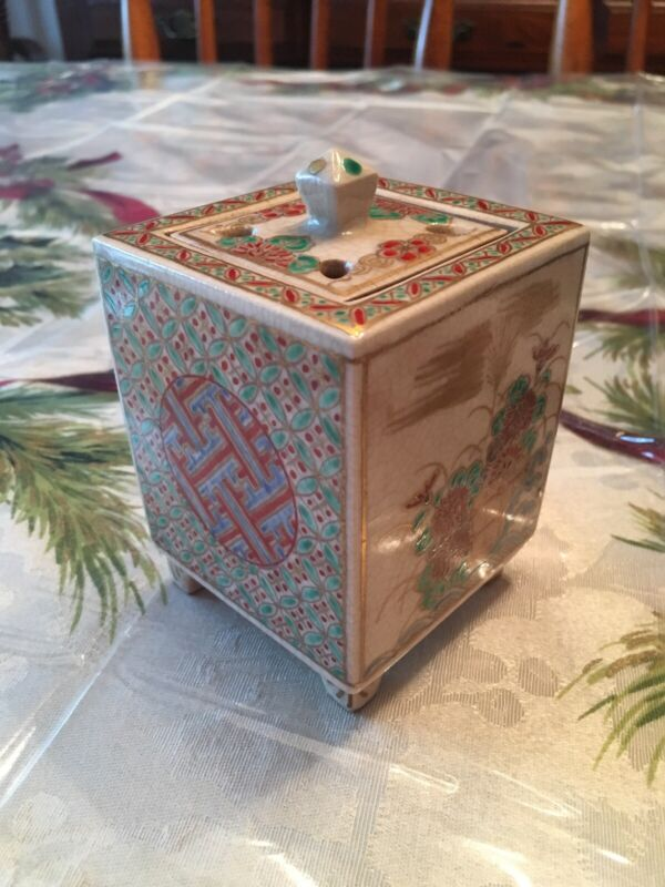 Vintage Asian Incense Box Container Floral  Porcelain Hand Painted Signed