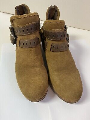 UGG Patsy 1011662 Women's 8 Dual Strap Tan Suede Sheepskin Footbed Ankle Boots