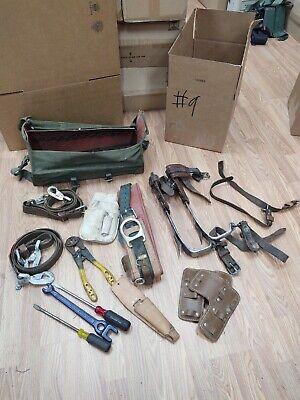 Buckingham Utilty Lineman Pole Climbing Gear Kit Spikes Belt Safety Strap Bag 9