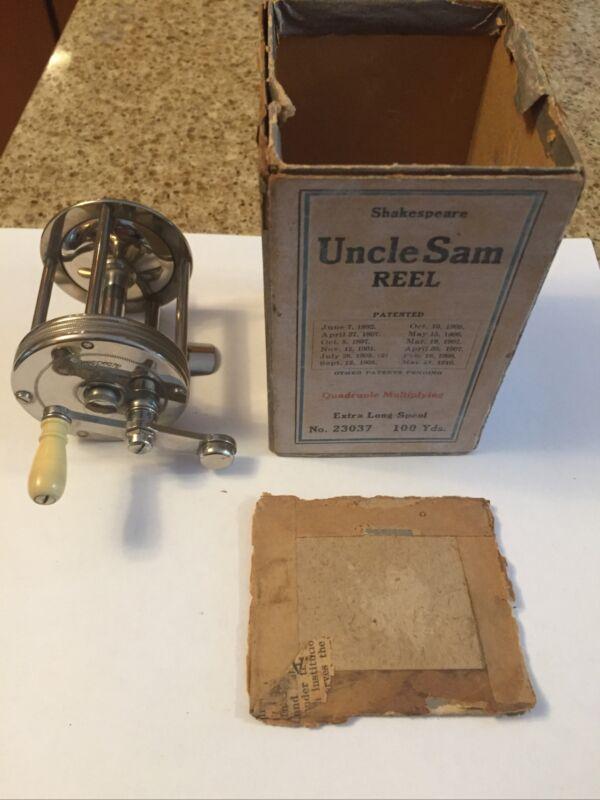 Vintage Reel Shakespeare Uncle Sam Reel With Original Box .