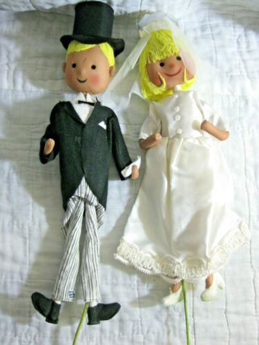 VINTAGE A. SKANDIA DOLL SET BRIDE & GROOM WEDDING CAKE TOPPER 1962 JAPAN RETRO