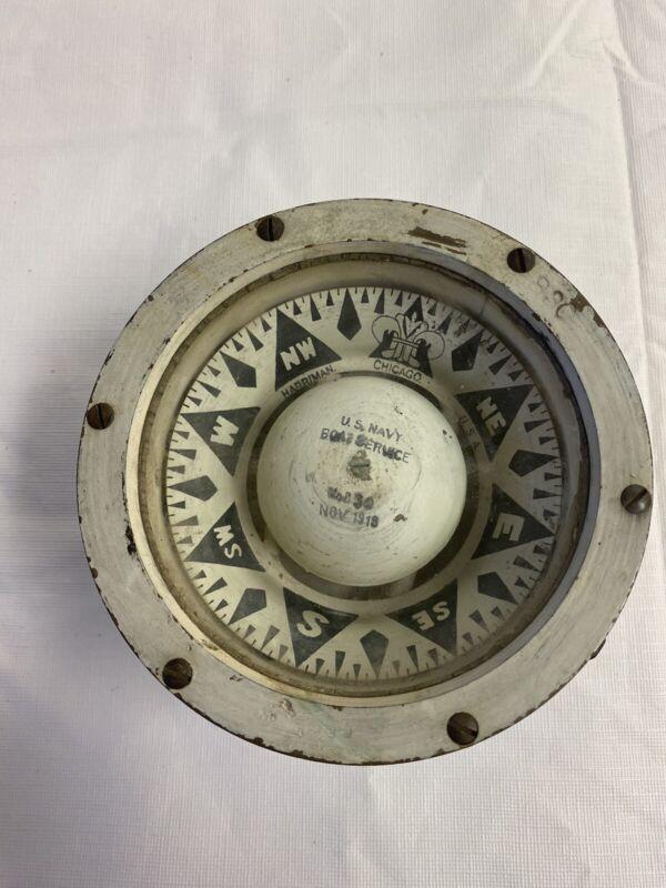 Antique WWI (1918) Harriman US Navy Boat Service Compass