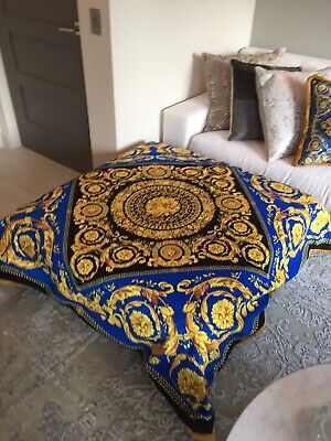 Large Custom  Made Versace Baroque Blue Gold Velvet Throw 56/56 Inch